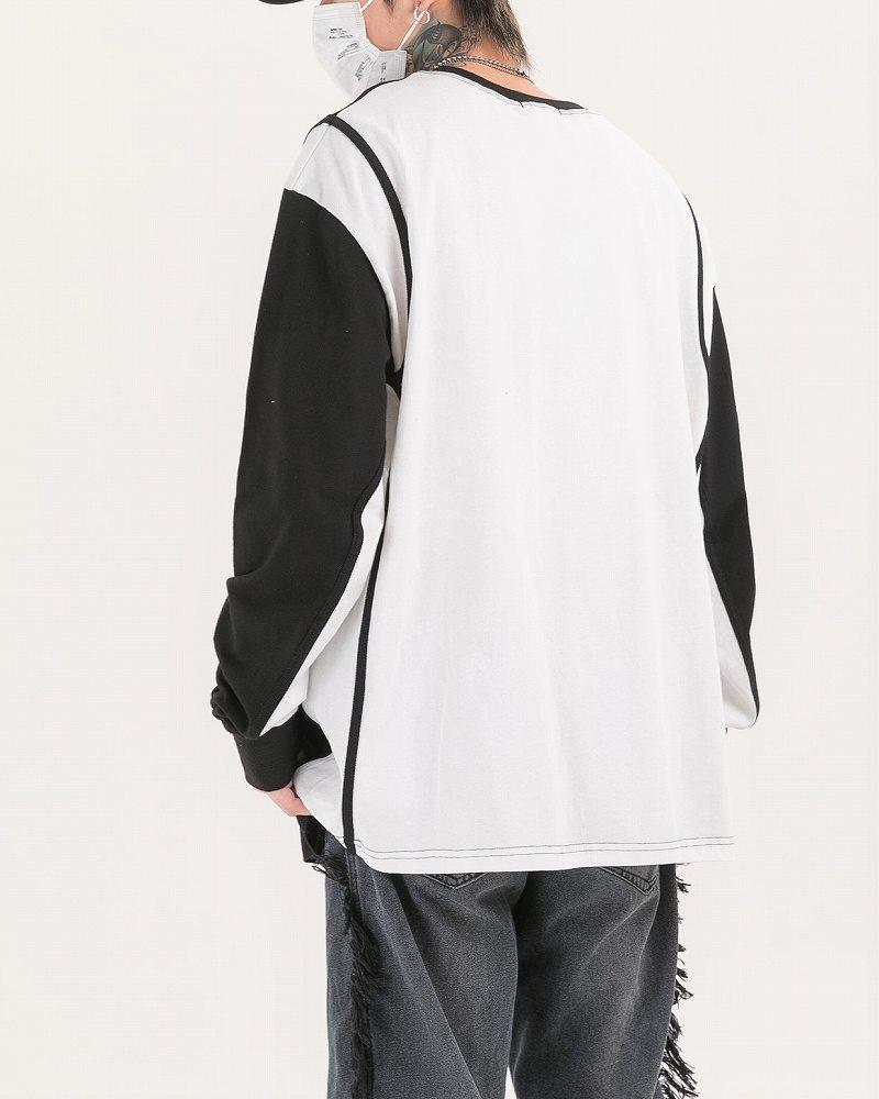 《2色》ドロップショルダーバイカラーロングTシャツの画像5